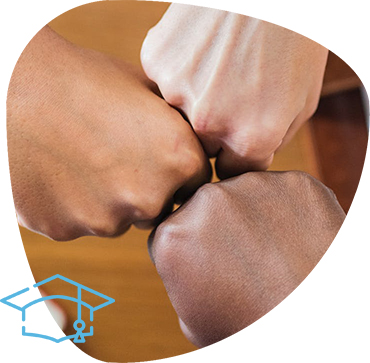 Image displaying a fist bump with three fists